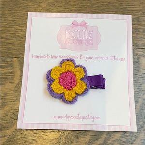 New handmade crochet flower hair clip